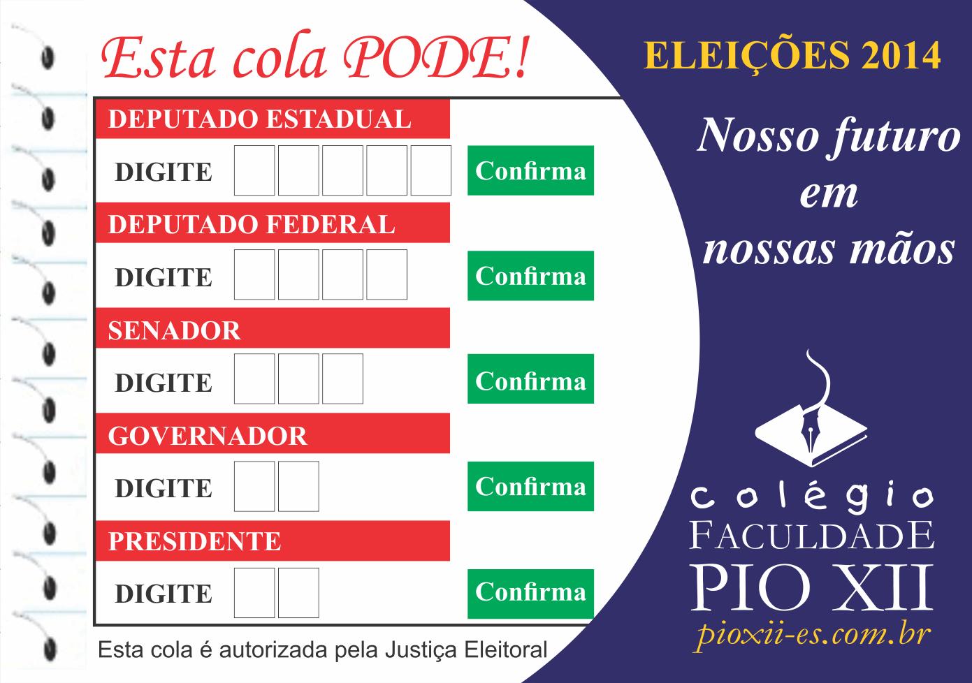 PIO XII distribui cola para auxiliar os eleitores na votação