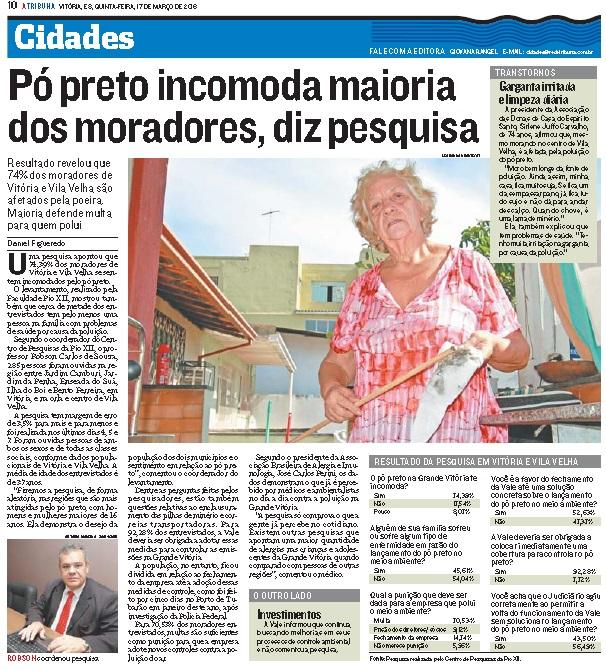 Pesquisa da PIO XII sobre pó preto é publicada em A Tribuna
