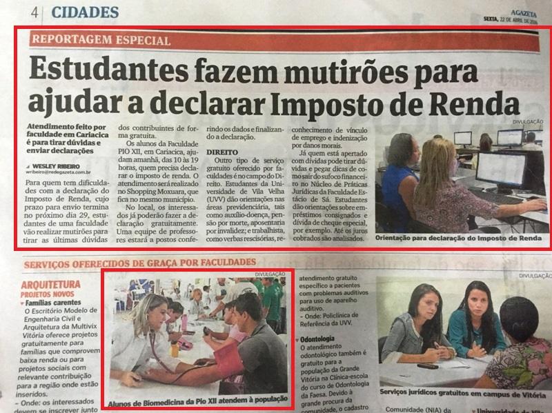 Serviços gratuitos da PIO XII são destaques no jornal A Gazeta e no Gazeta Online