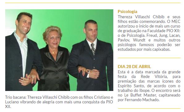 Diretoria da PIO XII é destaque em Coluna Social de Helio Dórea. Outros professores também estão na mídia