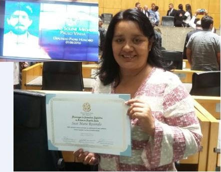 Professora recebe homenagem na Assembleia Legislativa