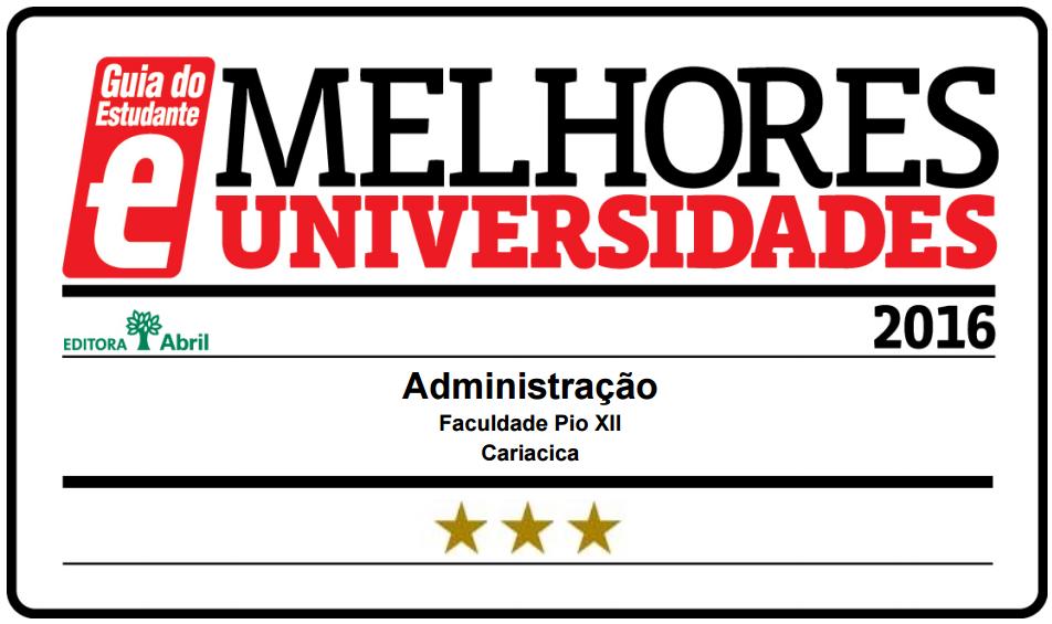 Cursos de Administração e Ciências Contábeis da PIO XIIestão entre os melhores do País