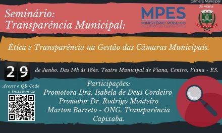 Inscrições abertas para o Seminário Transparência Municipal