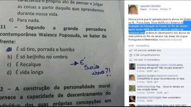 """Prova cita Valesca Popozuda como """"grande pensadora"""" e vira polêmica"""