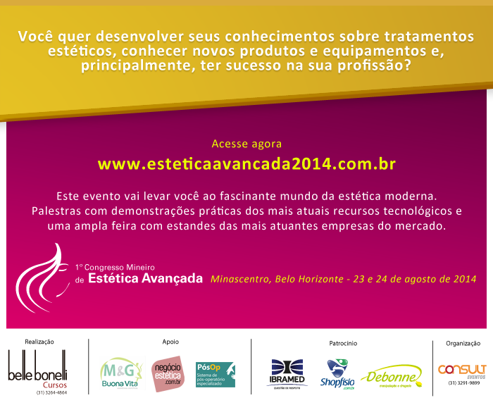 1º Congresso Mineiro de Estética Avançada acontece em agosto