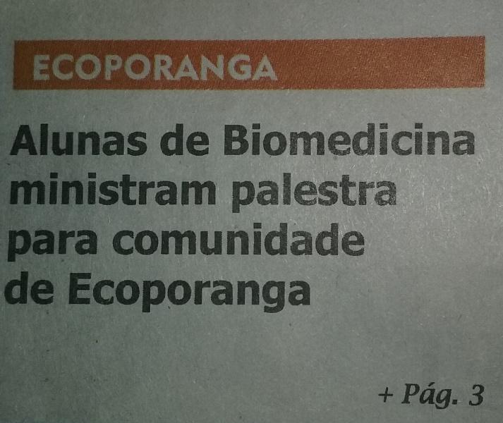 Ação realizada por alunas de Biomedicina vira notícia em jornal de Ecoporanga