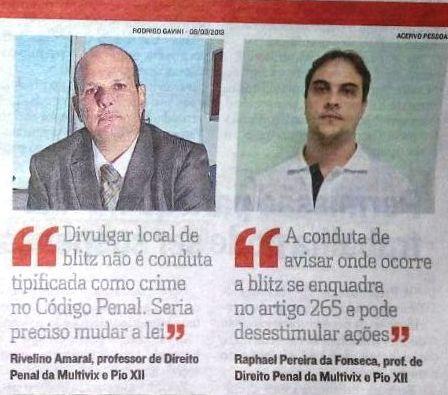 Professores da PIO XII opinam em matéria sobre prisão a quem divulgar blitz policial