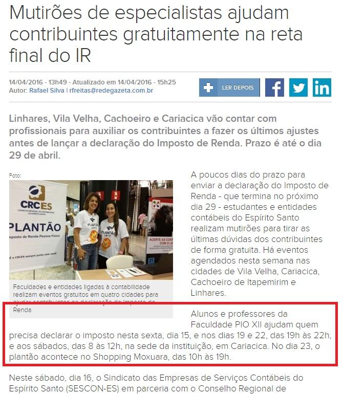 PIO XII é destaque no Gazeta Online e no jornal A Tribuna