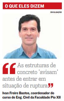 Coordenador do curso de Engenharia Civil comenta em A Tribuna sobre desabamento