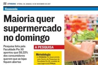 Na mídia: pesquisa sobre supermercados aos domingos; e Black Friday