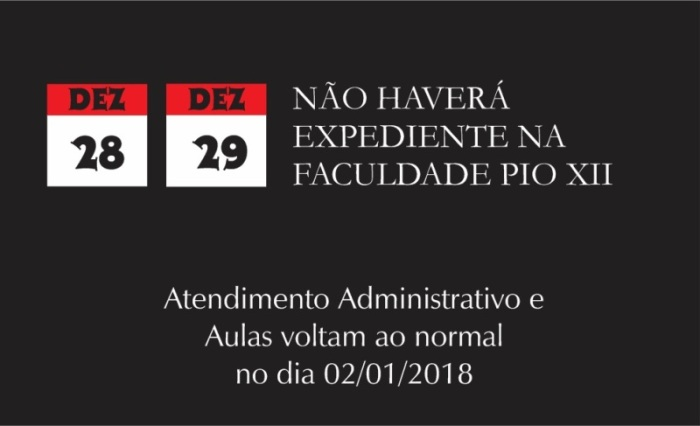 Não haverá aulas dias 28 e 29 de dezembro